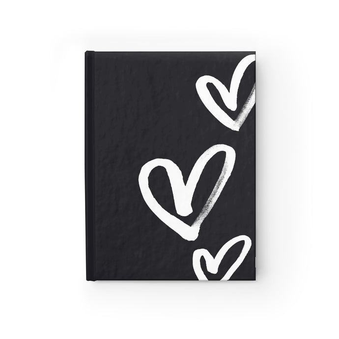 Hearts on Black Notebook