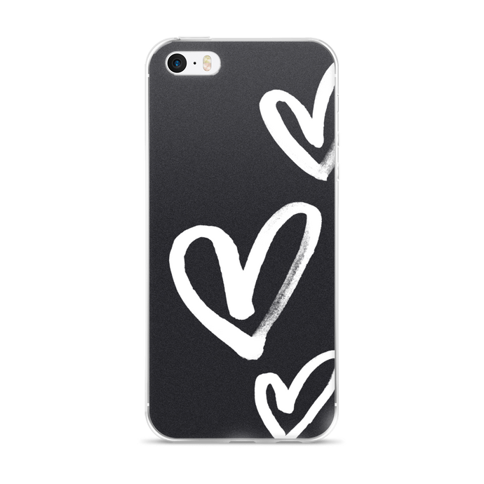 Hearts on Black iPhone Case
