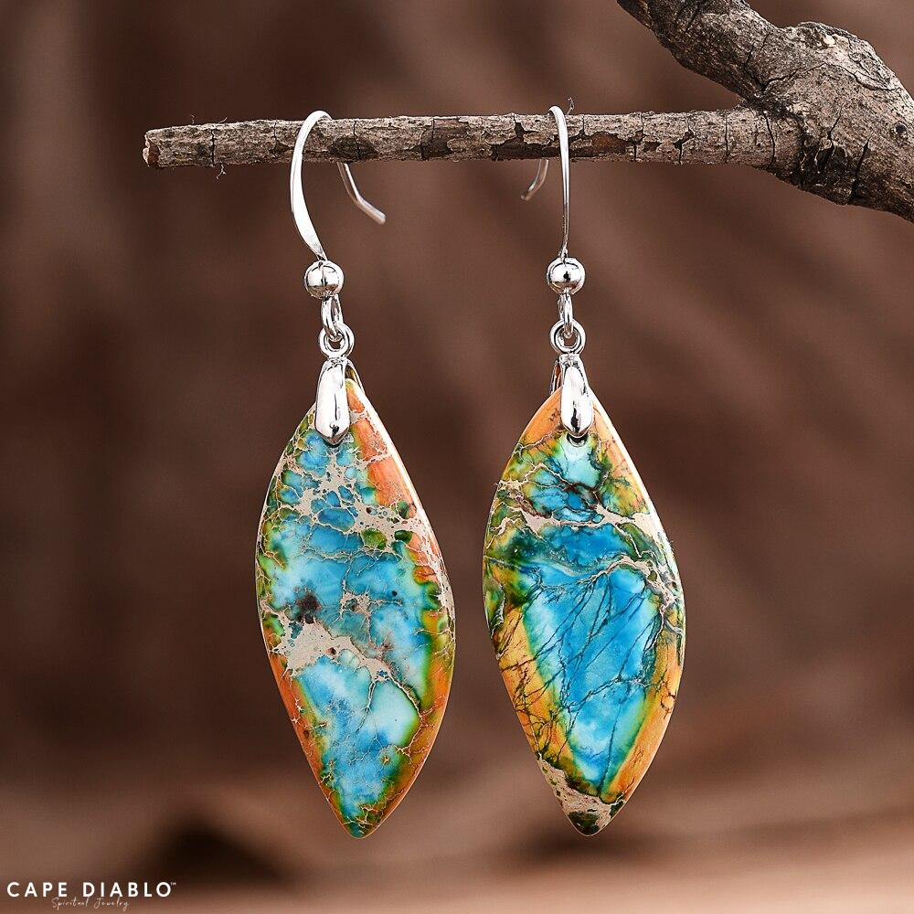 Jasper Leaf Dangle Earrings