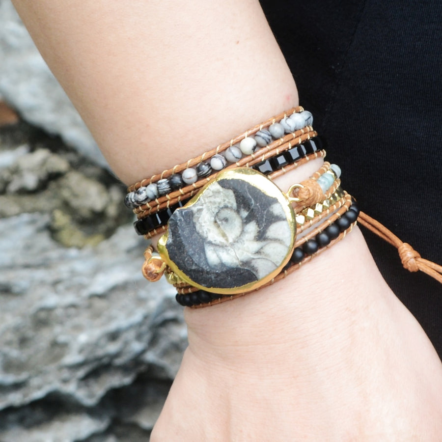 Black & White Fossil Wrap Bracelet