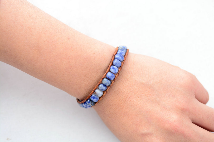 Square Stone Leather Bracelet