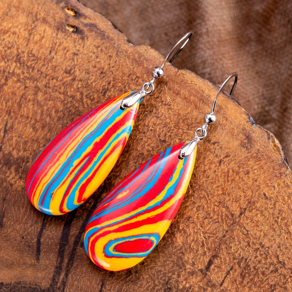 Sunset Imperial Jasper Drop Earrings