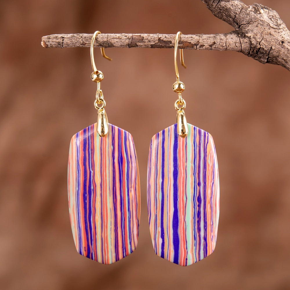 Colorful Regalite Drop Earrings