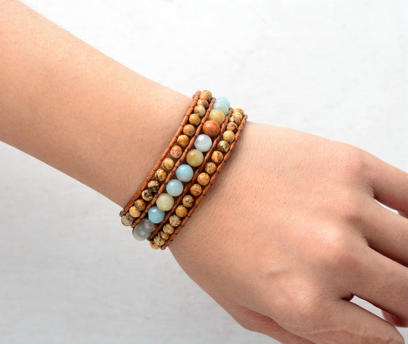 Amazonite Leather Cuff Bracelet