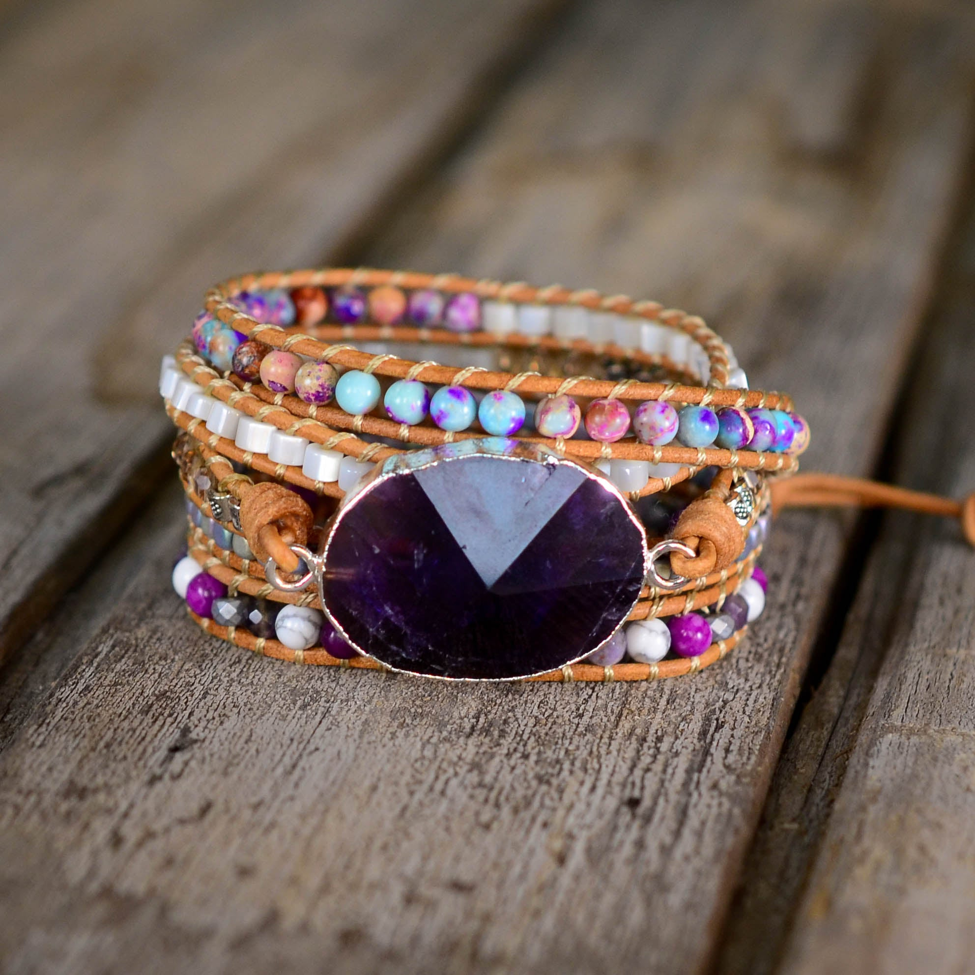 Amethyst Silver Protection Wrap Bracelet