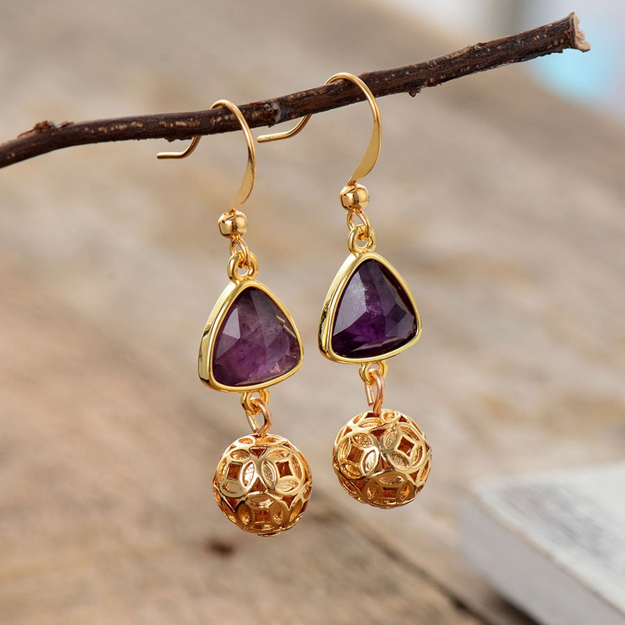 Amethyst Gold Charm Earrings