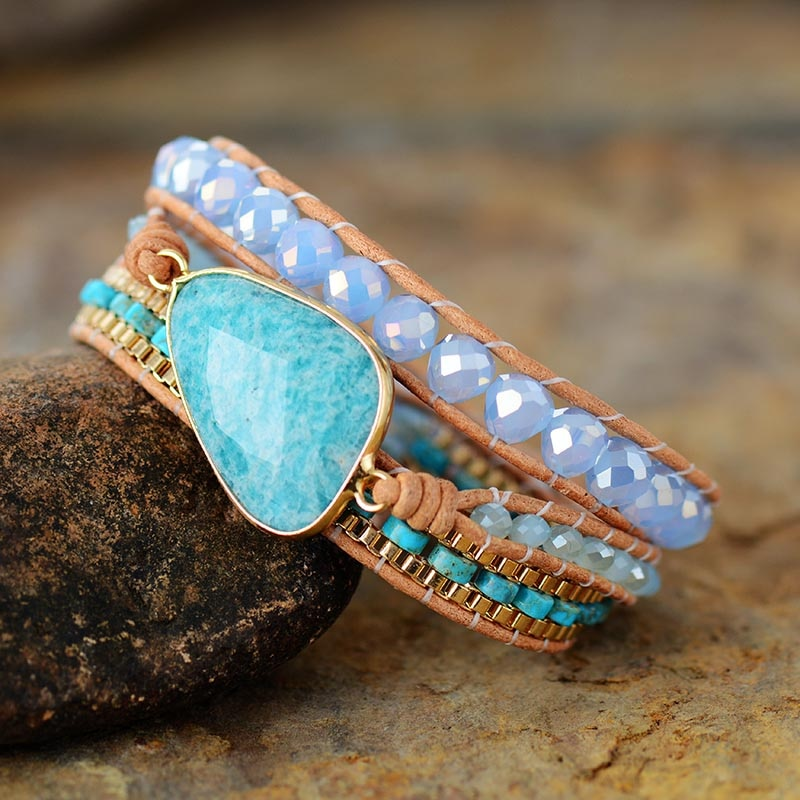 Intense Amazonite Wrap Bracelet
