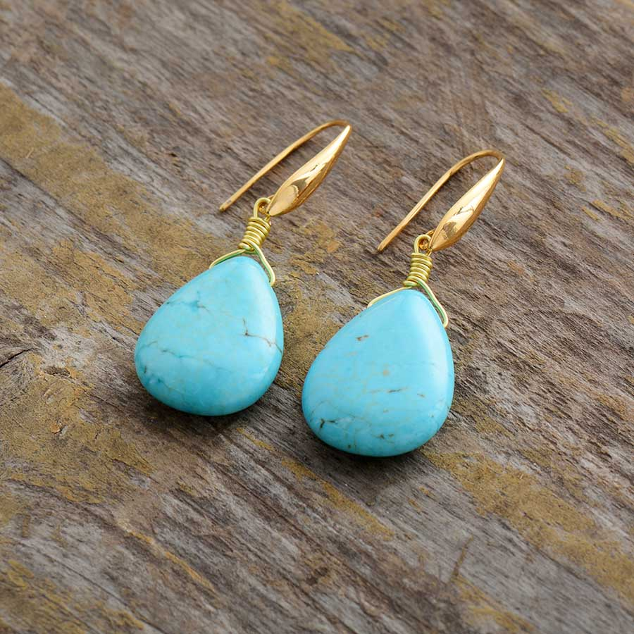 Exquisite Teardrop Turquoise Earrings