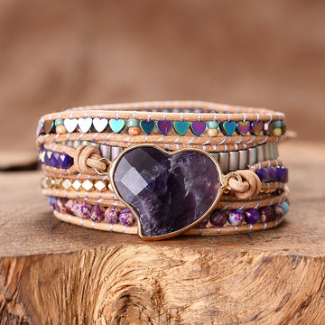 Intense Amethyst Love Wrap Bracelet