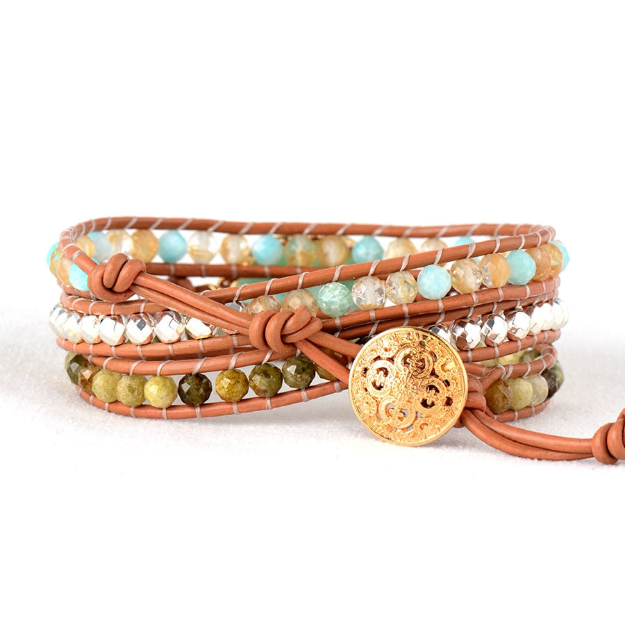 Amazonite Goddess Leather Wrap Bracelet