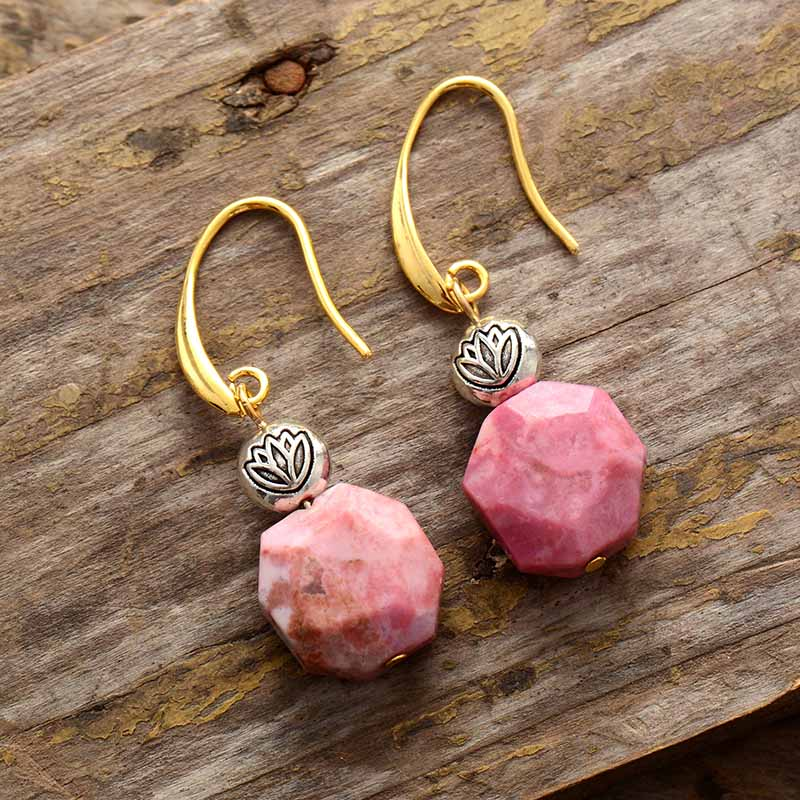 Rhodonite Lotus Dangle Earrings