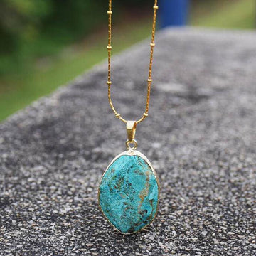 Blue Earth Jasper Stone Necklace