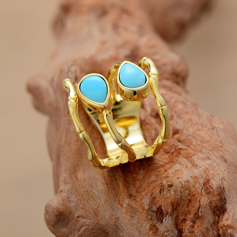 Cocktail Turquoise Gold Ring