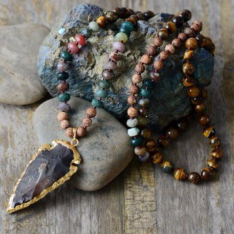 Tiger Eye Arrowhead Necklace