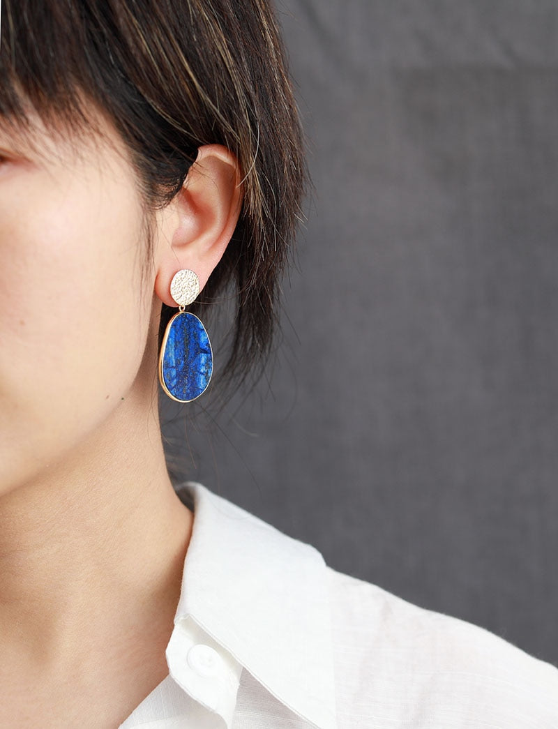 Lapis Lazuli Protection Drop Earrings