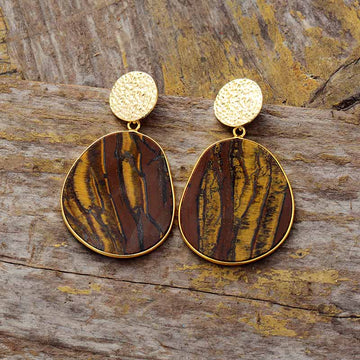 Natural Tiger Eye Drop Earrings