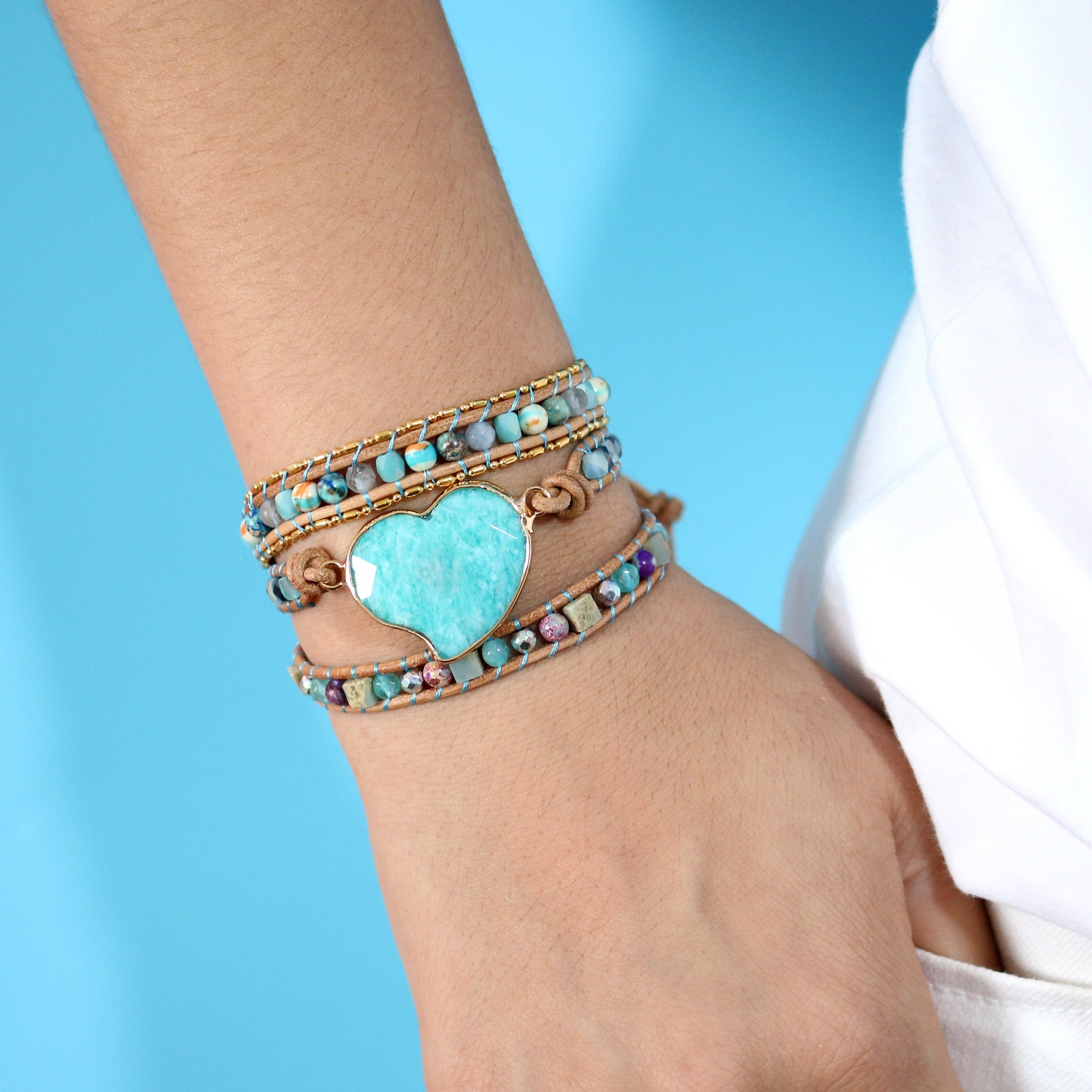 Intense Amazonite Love Wrap Bracelet
