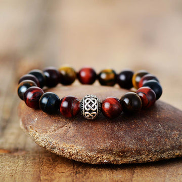 Men's Red Tiger Eye Buddha Bracelet