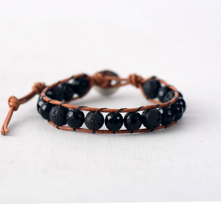 Men's Black Mix Leather Bracelet