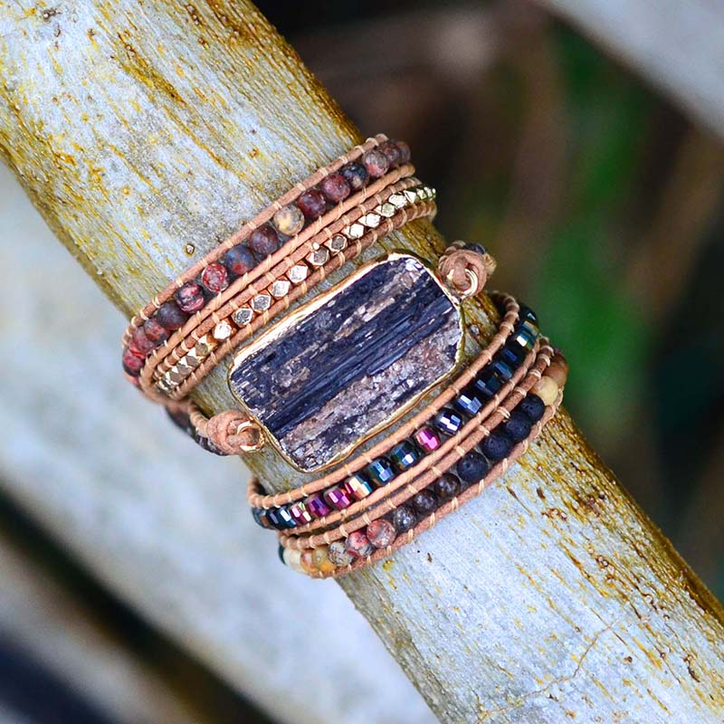 Native Black Tourmaline Wrap Bracelet