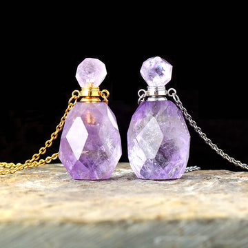 Amethyst Healing Perfume Bottle Necklace
