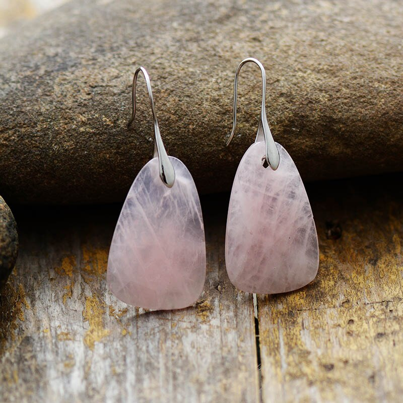 Rose Quartz Fancy Drop Earrings