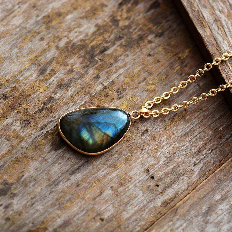 Natural Labradorite Pendant Necklace