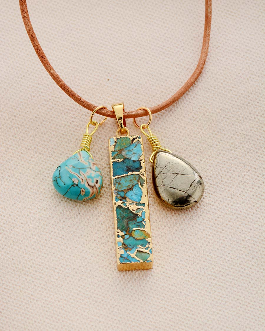 Natural Stones Charm Necklace