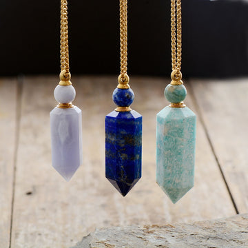 Natural Gemstone Perfume Bottle Necklace