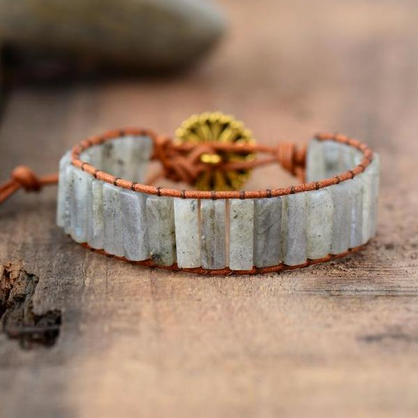 Labradorite Light Leather Bracelet