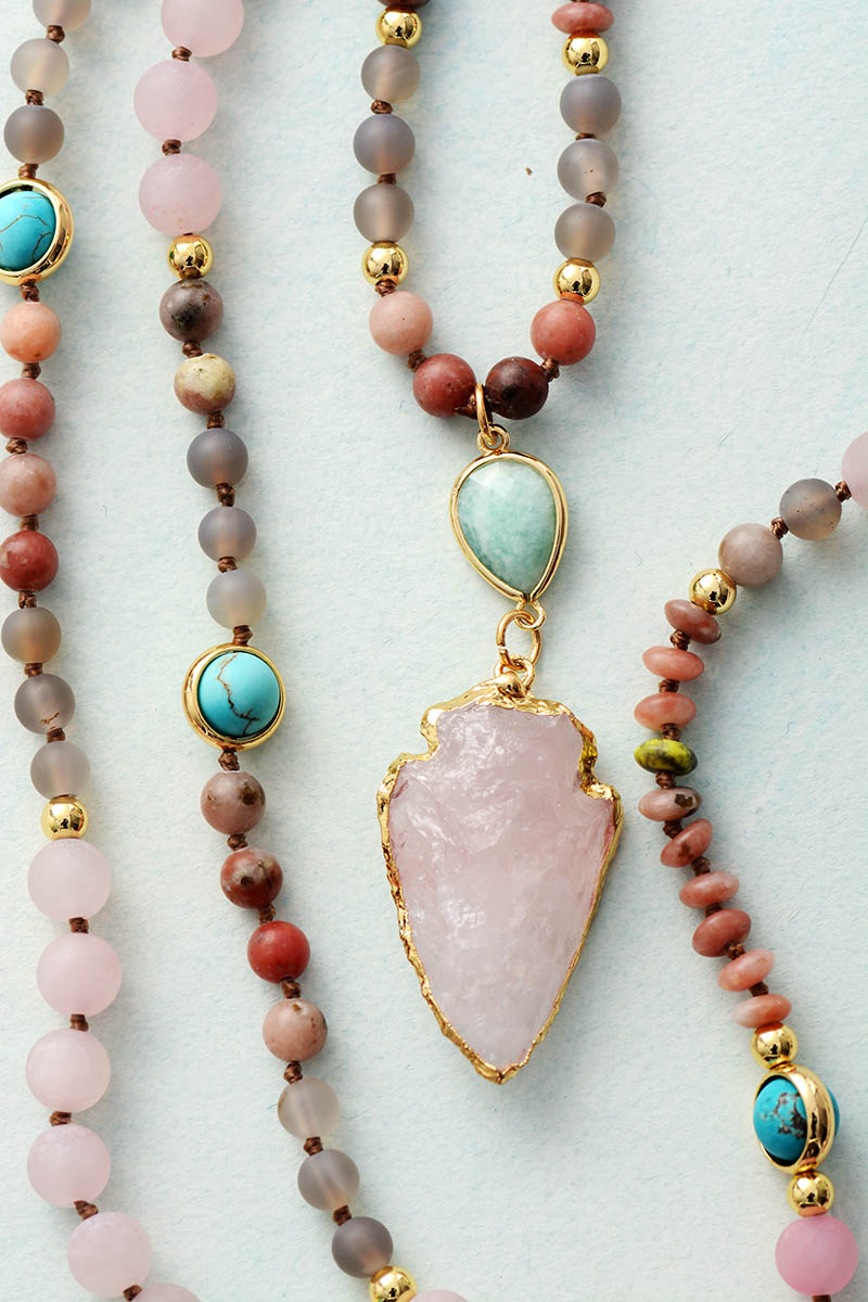 Rose Quartz & Amazonite Protection Necklace