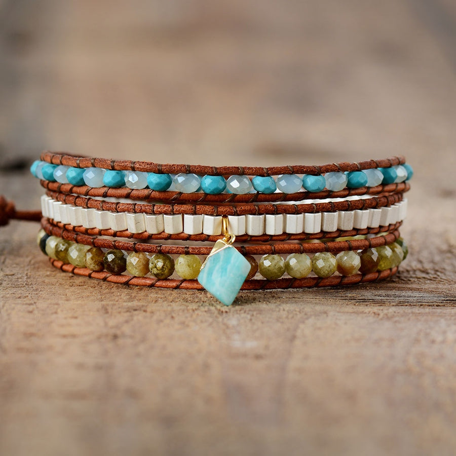 Amazonite Queen Wrap Bracelet