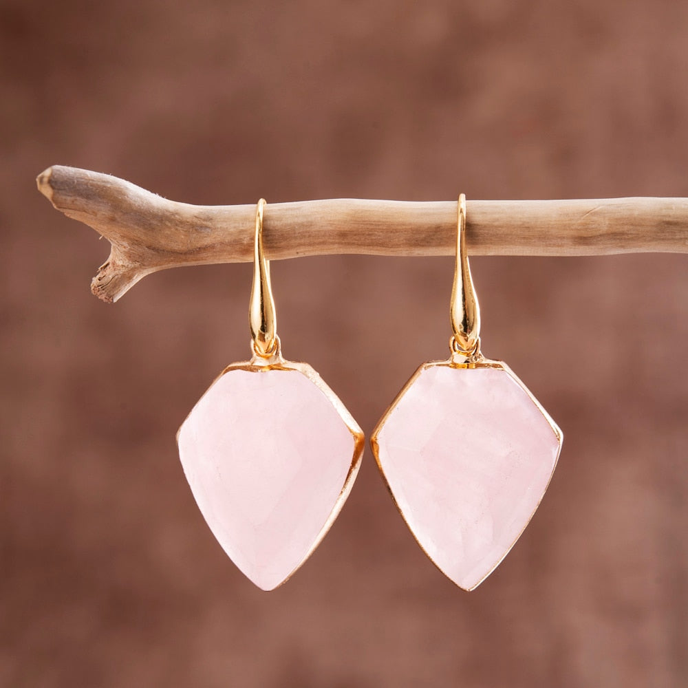 Protective Rose Quartz Shield Earrings