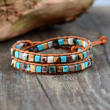 Celestial Natural Stone Leather Bracelet