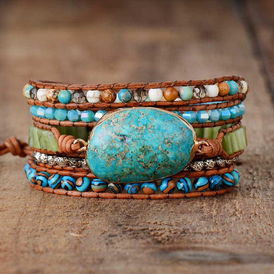 Twisted Ocean Jasper Wrap Bracelet