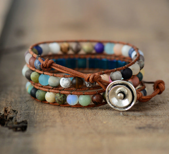 Cielo Natural Stone Leather Bracelet