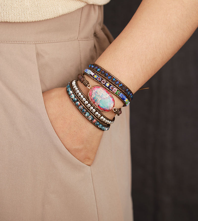 Floral Energy Protection Wrap Bracelet