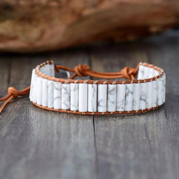 Natural Howlite Leather Bracelet