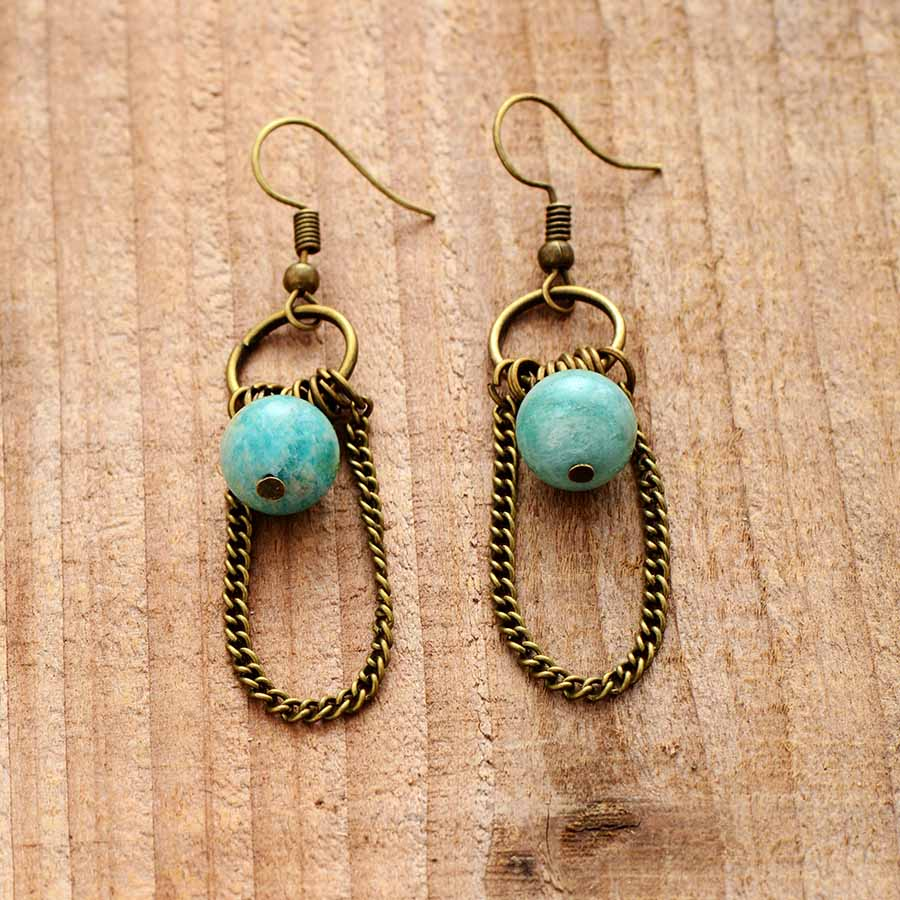 Amazonite Chandelier Drop Earrings