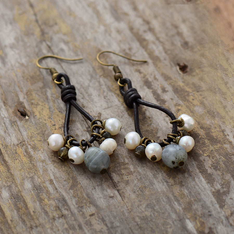 Pearls & Labradorite Leather Earrings