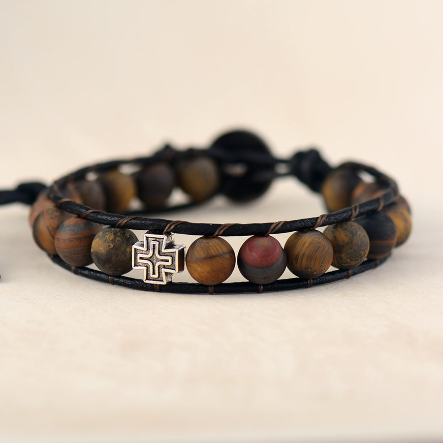 Cross Spirit Tiger Eye Bracelet