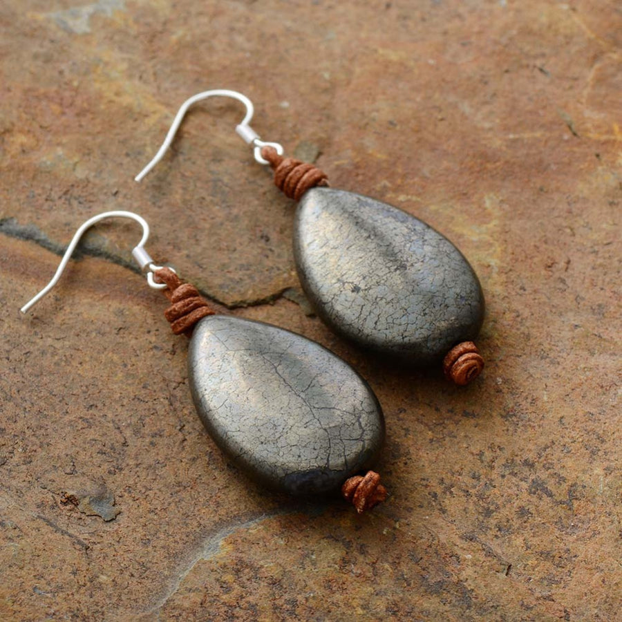 Teardrop Pyrite Earrings