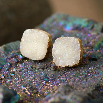 Magical Druzy Snow Earrings