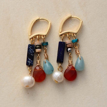 Amazonite & Agate Mix Drop Earrings