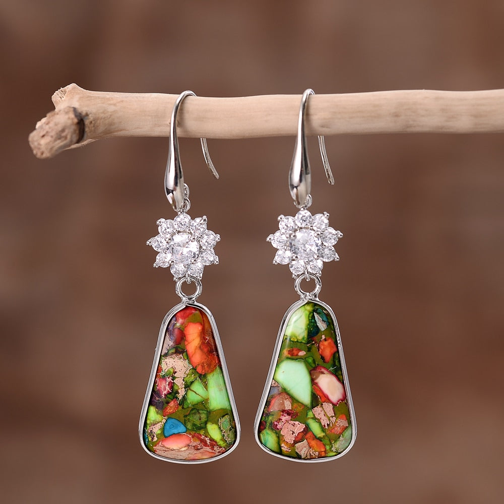Classy Imperial Jasper Teardrop Earrings