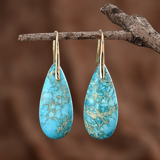 Turquoise Jasper Protection Drop Earrings