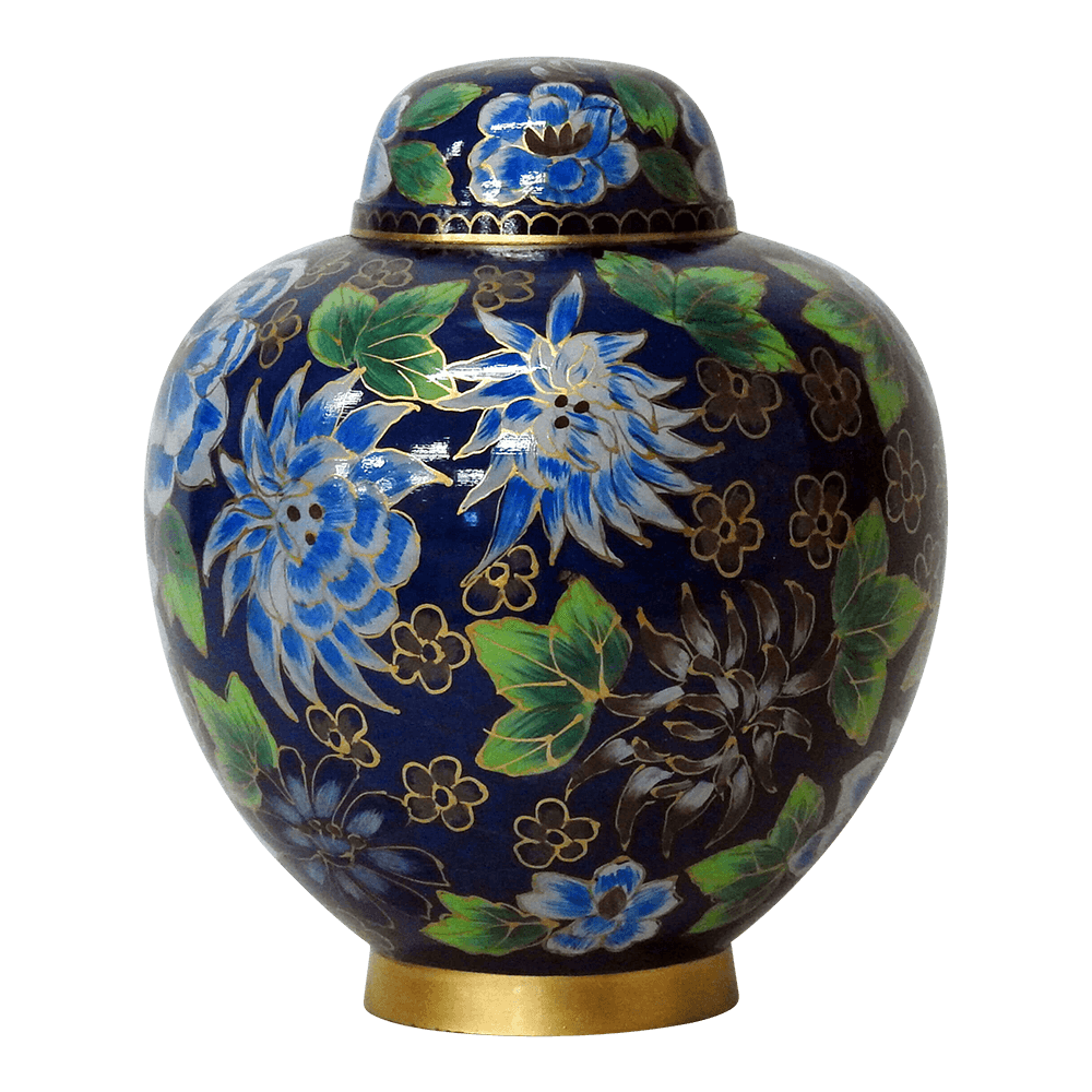 Safe Passage urns Blue green flowers cloisonne cremation urn