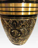 gold band black cremation urn