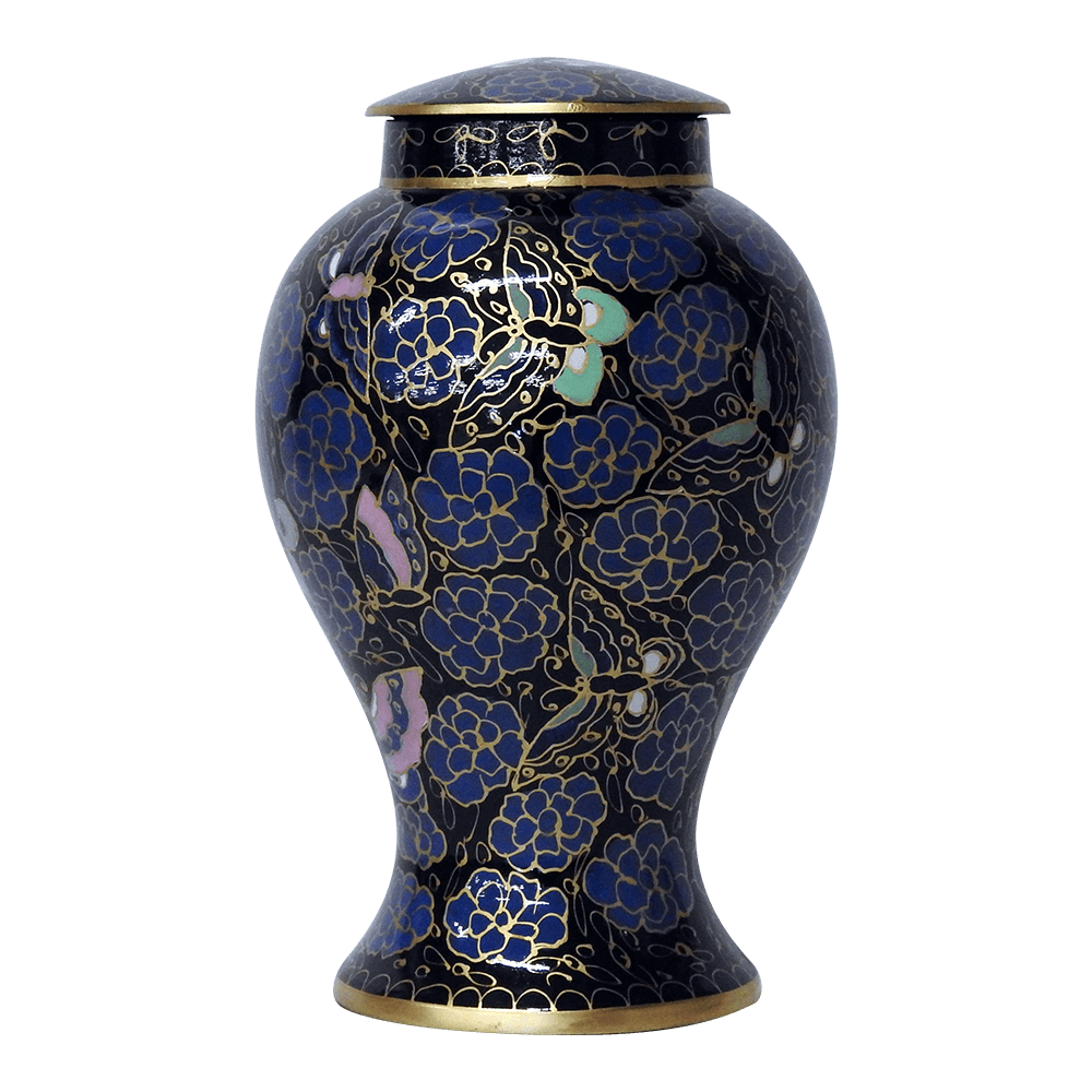 Safe Passage Urns Blue lotus brass cremation funeral urn for ashes