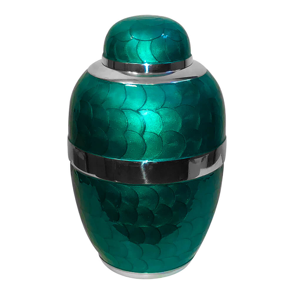 Turquoise green cremation urn